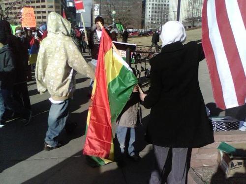 A flag of Bolivia made its appearance too.