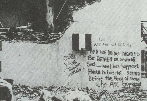 Crusade for Justice building after police attack, 3/17/1973
